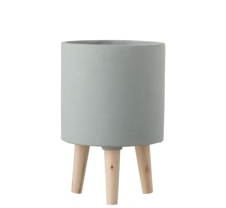 Flowerpot Cement On Legs Wood Gray-blue - Large