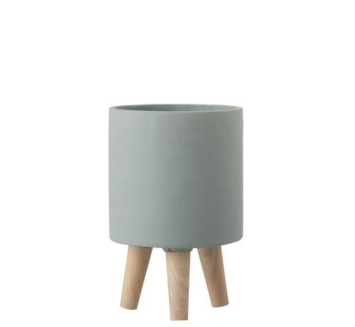 J -Line Bloempot Cement Op Poten Hout Grijsblauw - Small