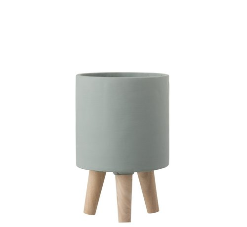 J -Line Flowerpot Cement On Legs Wood Gray-blue - Small