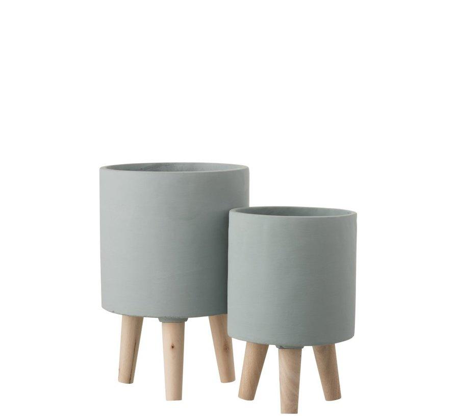 Bloempot Cement Op Poten Hout Grijsblauw - Small