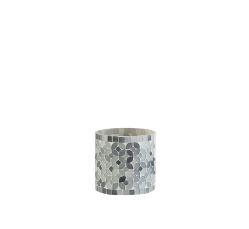 J -Line Theelichthouders Glas Mozaiek Mix Grijs - Small