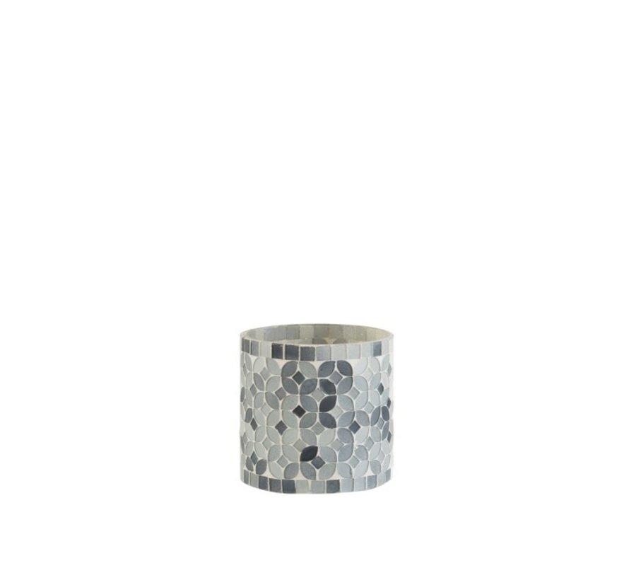 Theelichthouders Glas Mozaiek Mix Grijs - Small
