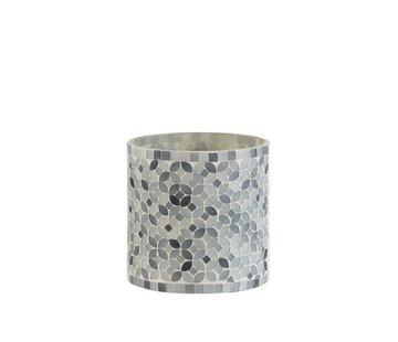 J-Line Theelichthouders Glas Mozaiek Mix Grijs - Medium