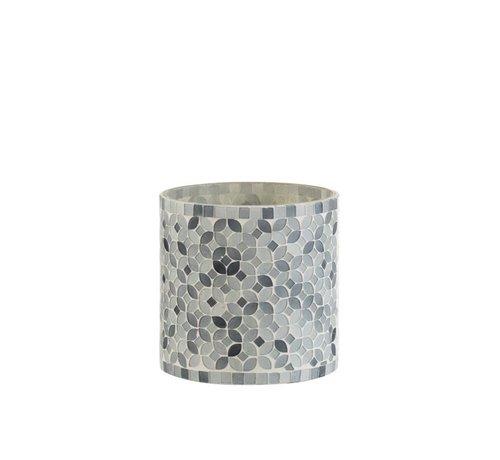 J -Line Theelichthouders Glas Mozaiek Mix Grijs - Medium