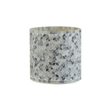 J-Line Theelichthouders Glas Mozaiek Mix Grijs - Large
