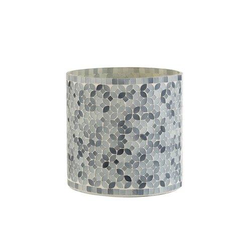 J -Line Theelichthouders Glas Mozaiek Mix Grijs - Large