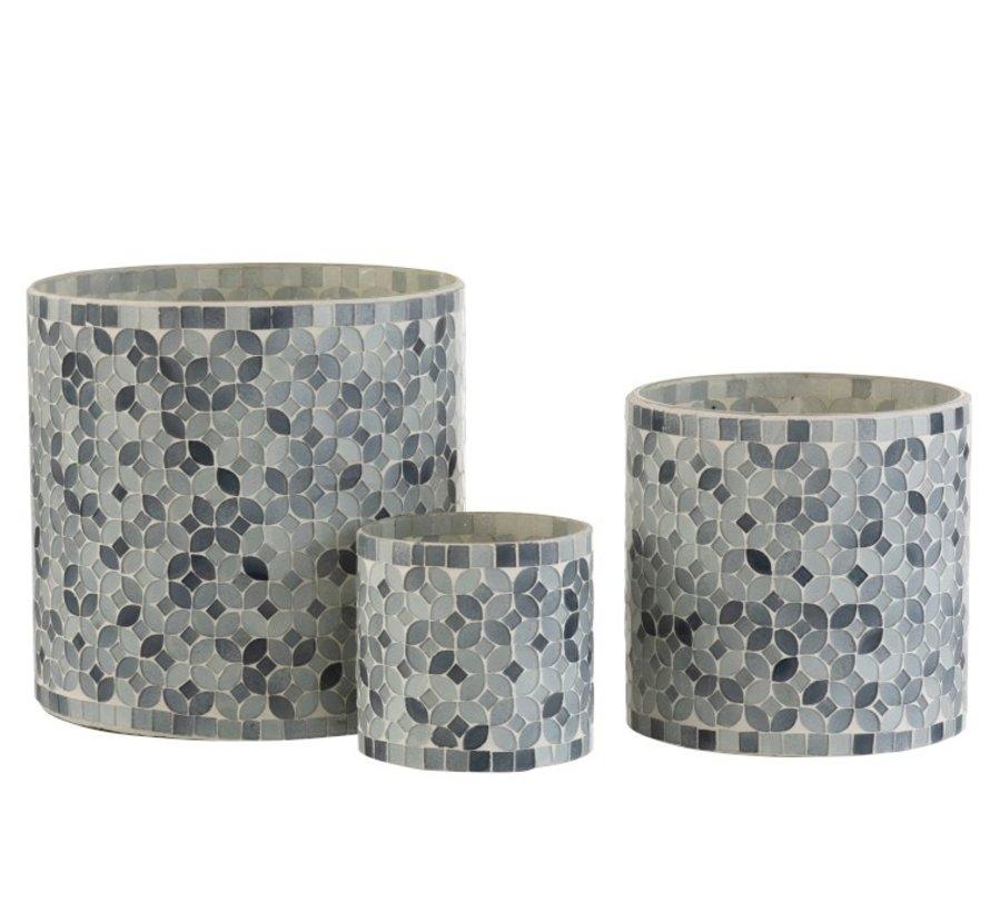 Theelichthouders Glas Mozaiek Mix Grijs - Large
