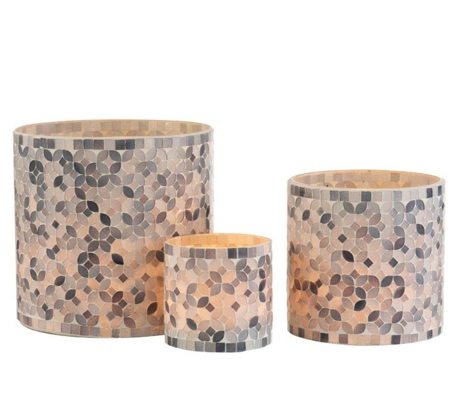 Tealight holders Glass Mosaic Mix Gray - Large