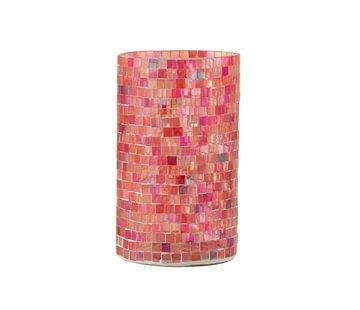 J -Line Theelichthouders Glas Mozaiek Mix Roze - Large