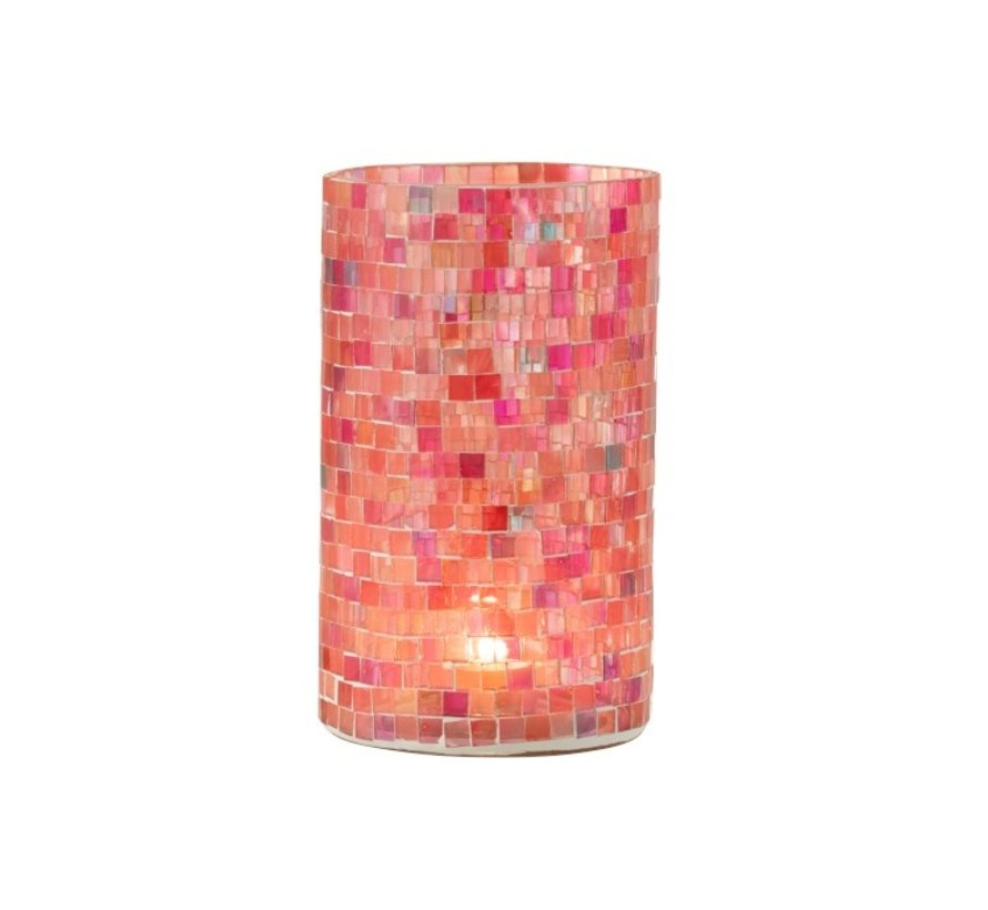 Theelichthouders Glas Mozaiek Mix Roze - Large