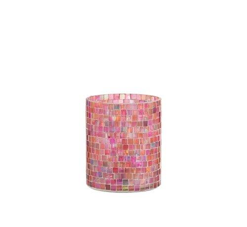 J -Line Theelichthouders Glas Mozaiek Mix Roze - Medium