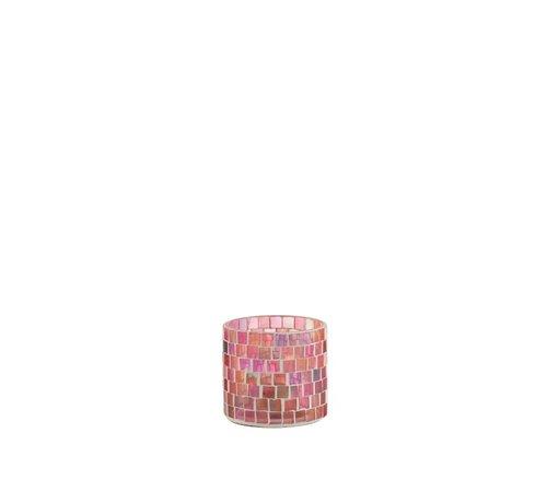 J -Line Theelichthouders Glas Mozaiek Mix Roze - Small