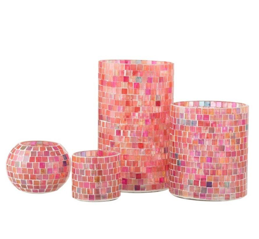 Theelichthouders Glas Mozaiek Mix Roze - Small