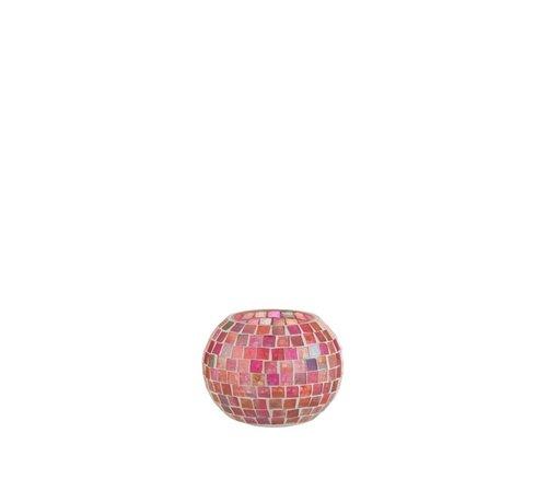 J -Line Theelichthouders Bol Glas Mozaiek Mix Roze - Small