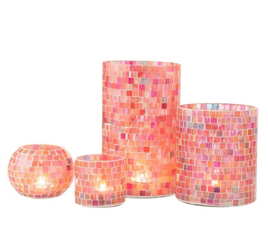 Theelichthouders Bol Glas Mozaiek Mix Roze - Small