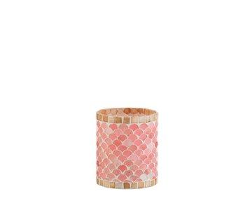 J -Line Theelichthouders Glas Mozaiek Roze Beige - Medium