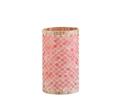 J -Line Theelichthouders Glas Mozaiek Roze Beige - Large