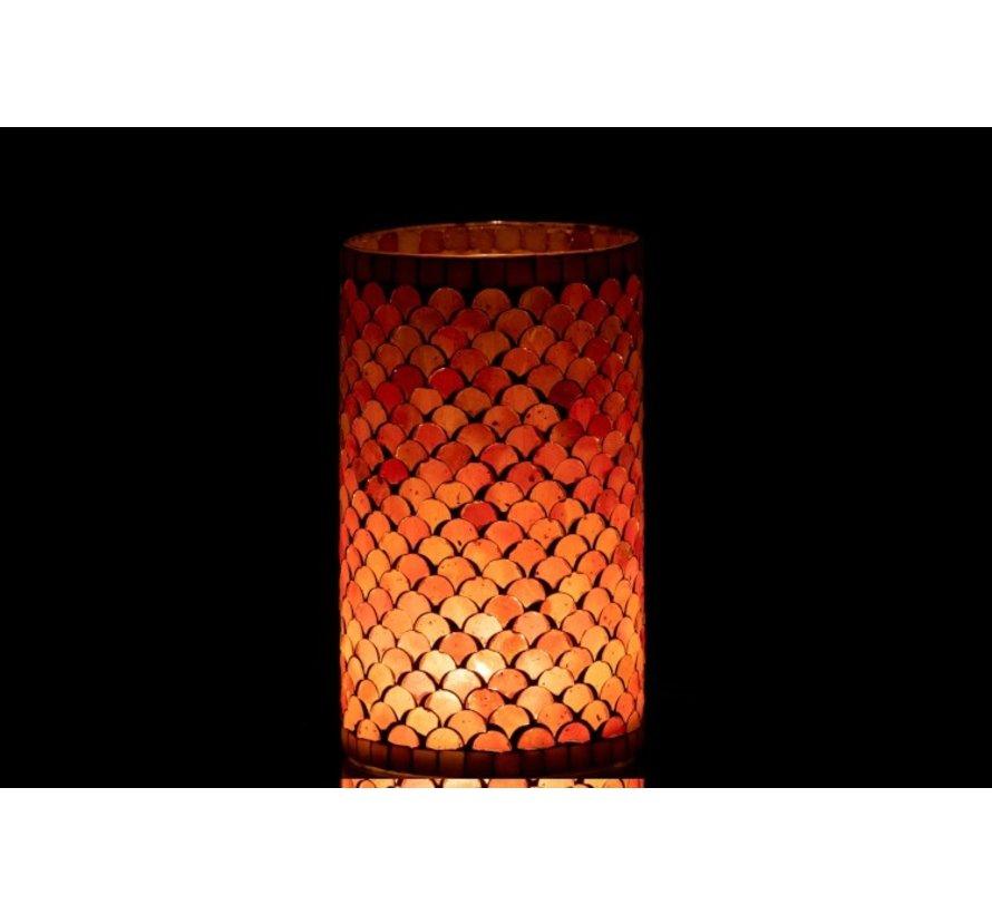 Theelichthouders Glas Mozaiek Roze Beige - Large