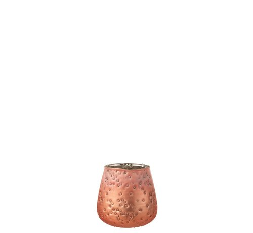 J -Line Tealight holders Hammered Glass Salmon - Small