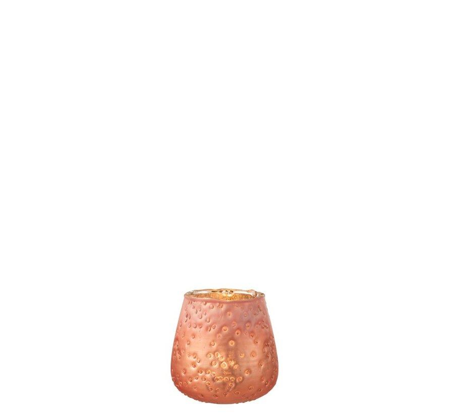Theelichthouders Gehamerd Glas Zalm - Small