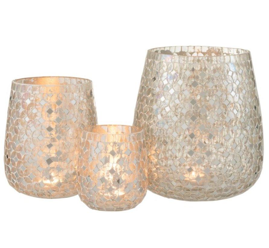 Theelichthouders Glas Mozaiek Zilver - Small