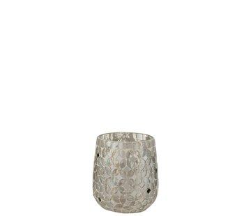 J -Line Theelichthouders Glas Mozaiek Zilver - Small