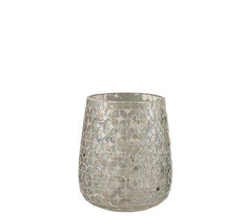 J -Line Theelichthouders Glas Mozaiek Zilver - Medium