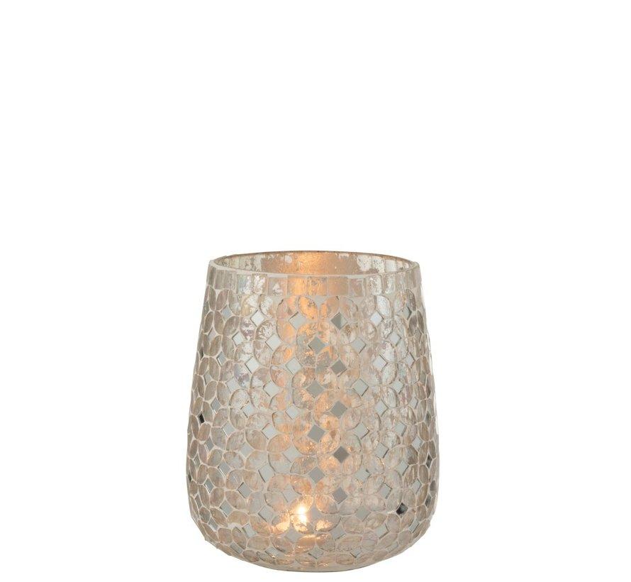 Theelichthouders Glas Mozaiek Zilver - Medium