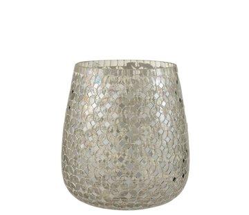 J -Line Theelichthouders Glas Mozaiek Zilver - Large