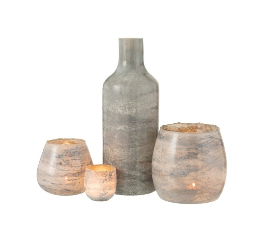 Theelichthouders Glas Marmer Grijs - Large
