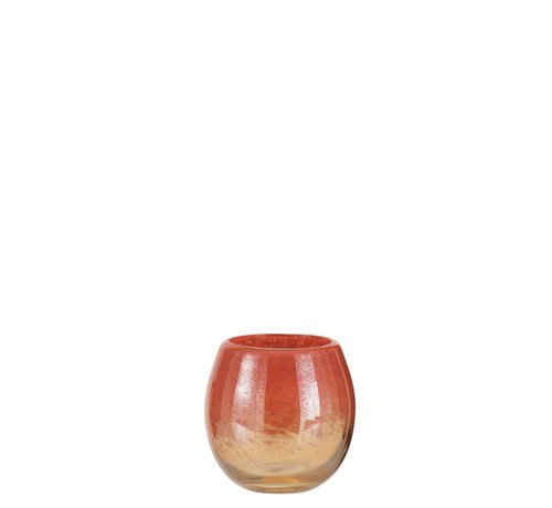 J -Line Vase Round Glass Shiny Red Gold - Small