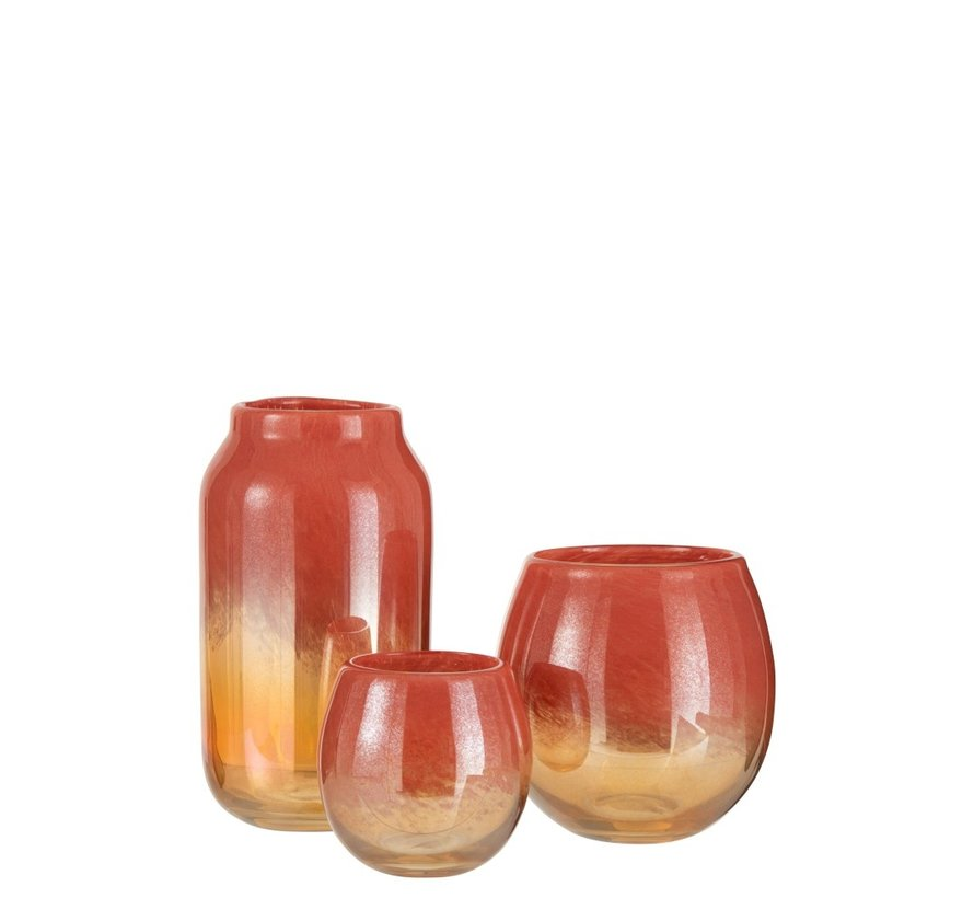 Vase Round Glass Shiny Red Gold - Small