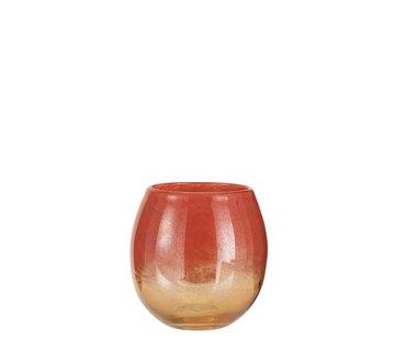 J -Line Vase Round Glass Shiny Red Gold - Medium