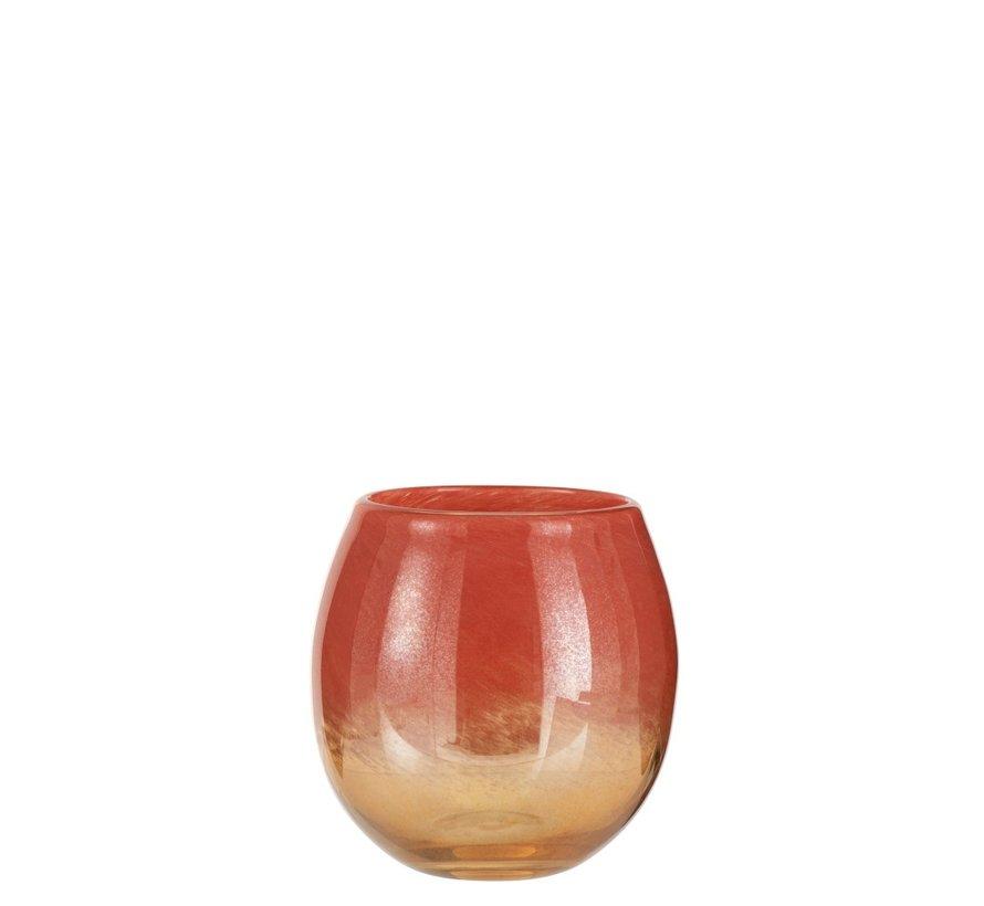 Vaas Rond Glas Blinkend Rood Goud - Medium
