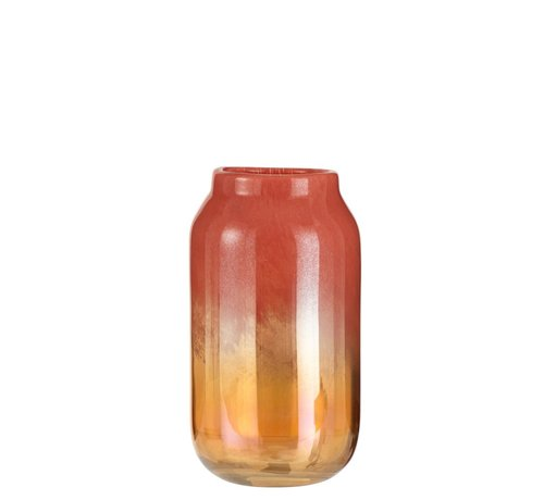 J -Line Vase High Glass Shiny Red Gold - Large