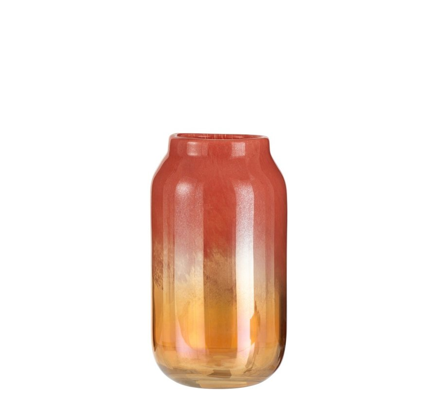 Vase High Glass Shiny Red Gold - Large
