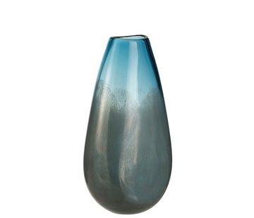 J -Line Vase High Glass Shiny Blue Gray - Large