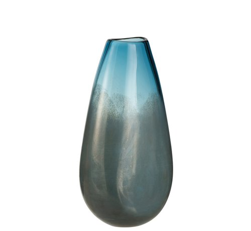 J -Line Vaas Hoog Glas Blinkend Blauw Grijs - Large