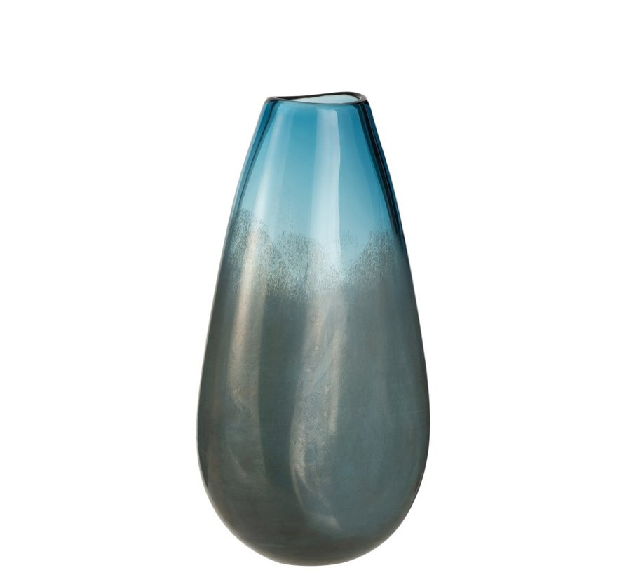 Vaas Hoog Glas Blinkend Blauw Grijs - Large
