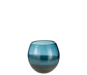 J -Line Vaas Bol Glas Blinkend Blauw Grijs - Small