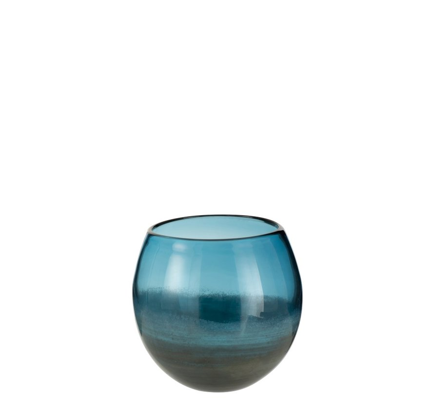Vaas Bol Glas Blinkend Blauw Grijs - Small