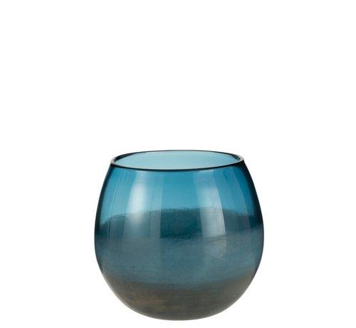 J -Line Vaas Bol Glas Blinkend Blauw Grijs - Large
