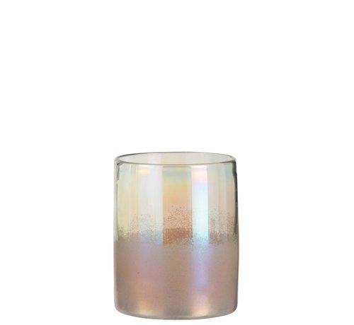 J-Line Vaas Cilinder Hoog Glas Blinkend Roze - Small