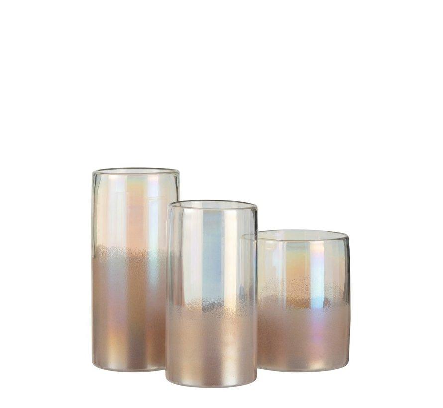 Vaas Cilinder Hoog Glas Blinkend Roze - Medium