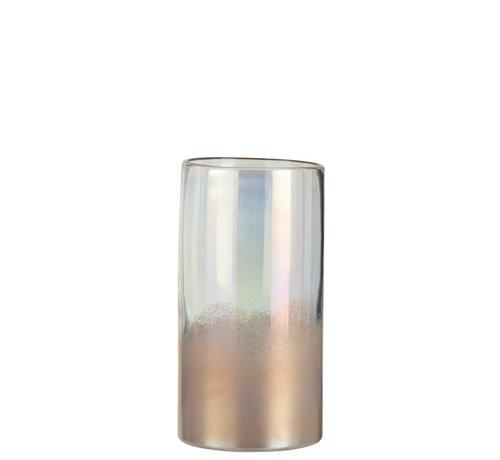 J -Line Vaas Cilinder Hoog Glas Blinkend Roze - Medium