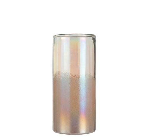 J -Line Vaas Cilinder Hoog Glas Blinkend Roze - Large