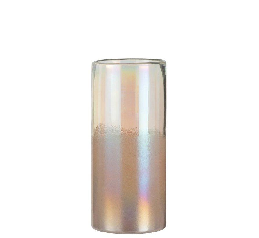 Vaas Cilinder Hoog Glas Blinkend Roze - Large