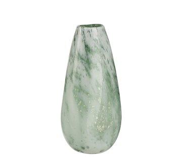 J -Line Vase Round High Glass Marble White Green - Large