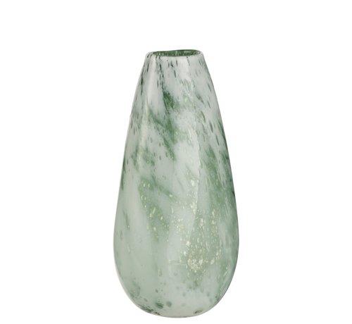 J -Line Vaas Rond Hoog Glas Marmer Wit Groen - Large