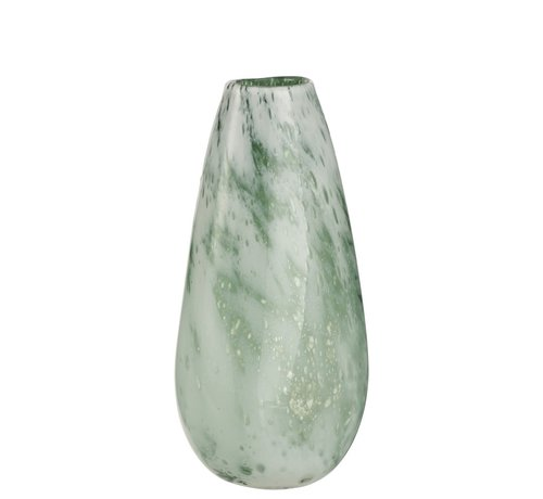 J -Line Vase Round High Glass Marble White Green - Large